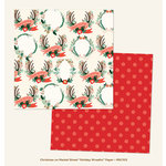My Minds Eye - Christmas on Market Street Collection - 12 x 12 Double Sided Paper - Holiday Wreaths