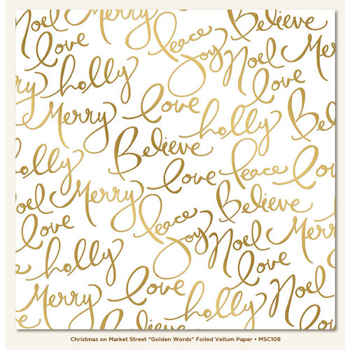 My Minds Eye - Christmas on Market Street Collection - 12 x 12 Vellum Paper with Foil Accents - Golden Words