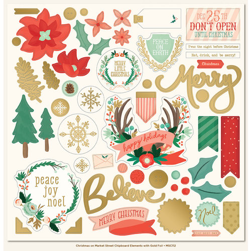 My Mind's Eye - Christmas on Market Street Collection - 12 x 12 Chipboard Stickers - Elements