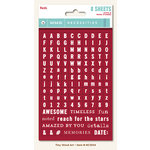 My Mind's Eye - Necessities Collection - Reds - Cardstock Stickers - Tiny Alphabets and Words