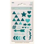 My Minds Eye - Necessities Collection - Teals - Enamel Shapes