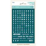My Minds Eye - Necessities Collection - Teals - Cardstock Stickers - Tiny Alphabets and Words
