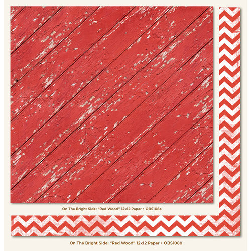 My Mind's Eye - On The Bright Side Collection - One - 12 x 12 Double Sided Paper - Red Wood