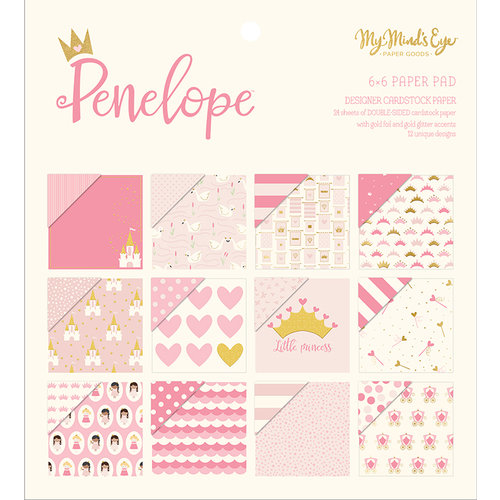 My Mind's Eye - Penelope Collection - 6 x 6 Paper Pad with Foil and Glitter Accents