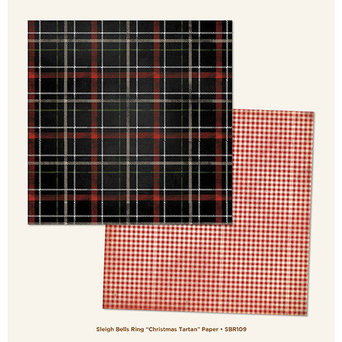 My Mind's Eye - Sleigh Bells Ring Collection - Christmas - 12 x 12 Double Sided Paper - Christmas Tartan