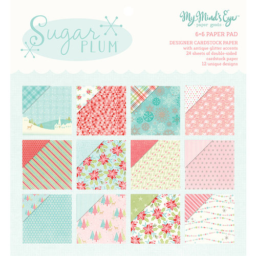 My Minds Eye - Sugar Plum Collection - Christmas - 6 x 6 Paper Pad with Glitter Accents