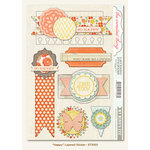 My Mind's Eye - The Sweetest Thing Collection - Tangerine - 3 Dimensional Stickers - Happy