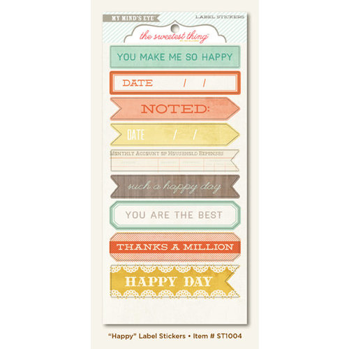 My Mind's Eye - The Sweetest Thing Collection - Tangerine - Cardstock Stickers - Happy Label