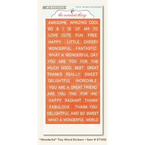 My Mind's Eye - The Sweetest Thing Collection - Tangerine - Cardstock Stickers - Tiny Word - Wonderful