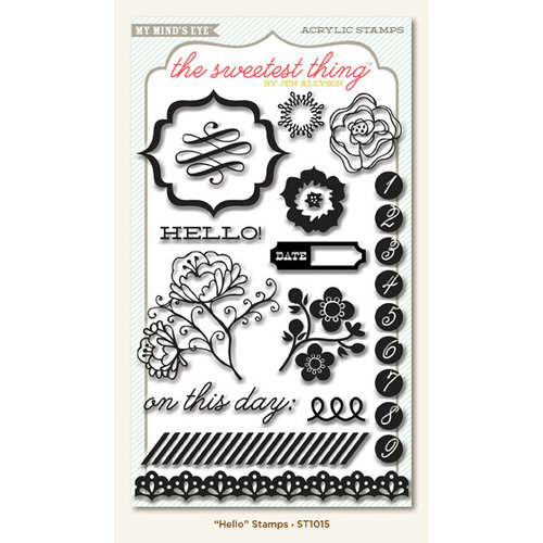 My Mind's Eye - The Sweetest Thing Collection - Tangerine - Clear Acrylic Stamps - Hello