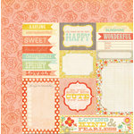 My Mind's Eye - The Sweetest Thing Collection - Tangerine - 12 x 12 Double Sided Paper - Hello Greetings