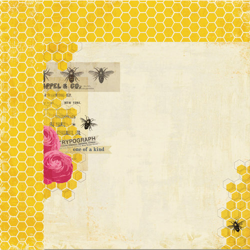 My Mind's Eye - The Sweetest Thing Collection - Honey - 12 x 12 Double Sided Paper - Perfect Best