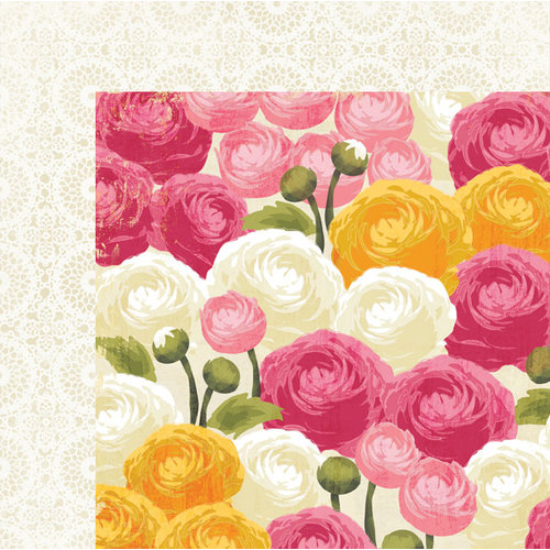 My Mind's Eye - The Sweetest Thing Collection - Honey - 12 x 12 Double Sided Paper - Love Bouquet
