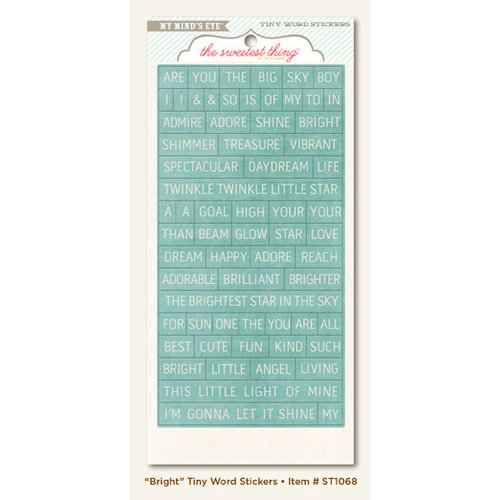 My Mind's Eye - The Sweetest Thing Collection - Bluebell - Cardstock Stickers - Tiny Word - Bright