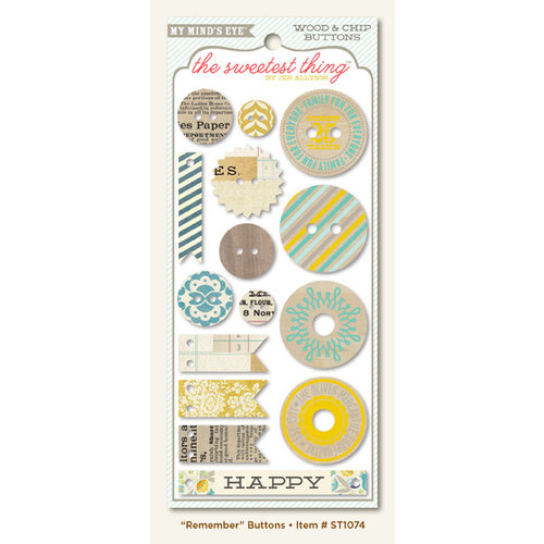 My Mind's Eye - The Sweetest Thing Collection - Bluebell - Decorative Buttons - Remember