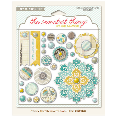 My Mind's Eye - The Sweetest Thing Collection - Bluebell - Decorative Brads - Every Day