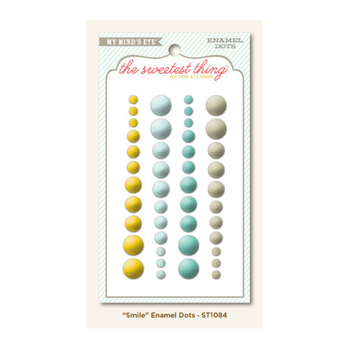 My Mind's Eye - The Sweetest Thing Collection - Bluebell - Self Adhesive Enamel Dots - Smile