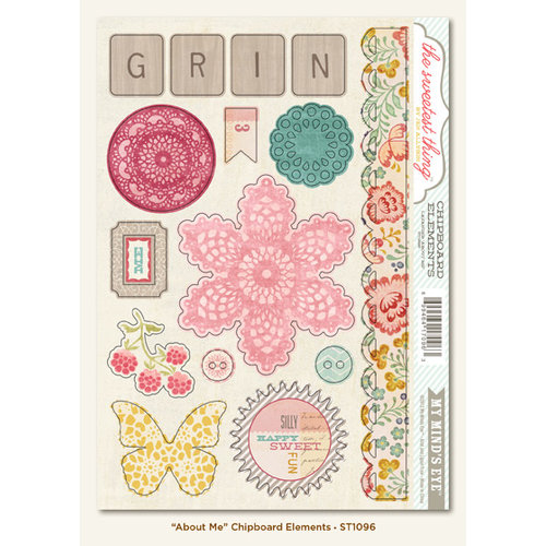 My Mind's Eye - The Sweetest Thing Collection - Lavender - Chipboard Stickers - About Me Elements