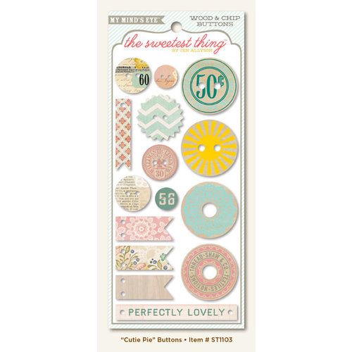 My Mind's Eye - The Sweetest Thing Collection - Lavender - Decorative Buttons - Cutie Pie