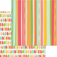 My Mind's Eye - Tutti Frutti Collection - 12 x 12 Double Sided Paper with Foil Accents - Cheery Cherry