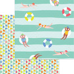 My Mind's Eye - Tutti Frutti Collection - 12 x 12 Double Sided Paper with Foil Accents - Swim Time