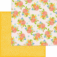 My Mind's Eye - Tutti Frutti Collection - 12 x 12 Double Sided Paper with Foil Accents - Tangerine Dreams