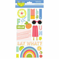 My Mind's Eye - Tutti Frutti Collection - Chipboard Stickers with Foil Accents