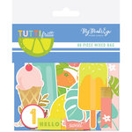 My Mind's Eye - Tutti Frutti Collection - Mixed Bag - Die Cut Cardstock Pieces with Foil Accents