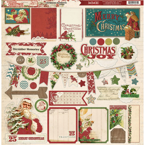 My Mind's Eye - Vintage Christmas Collection - 12 x 12 Chipboard Stickers