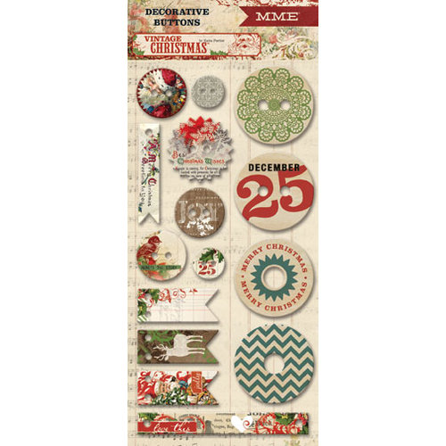 My Mind's Eye - Vintage Christmas Collection - Decorative Buttons
