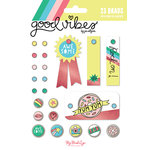 My Mind's Eye - Good Vibes Collection - Decorative Brads with Foil Accents