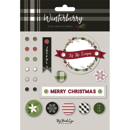 My Minds Eye - Winterberry Collection - Christmas - Decorative Brads