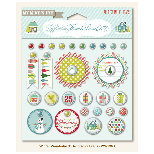 My Mind's Eye - Winter Wonderland Collection - Christmas - Decorative Brads