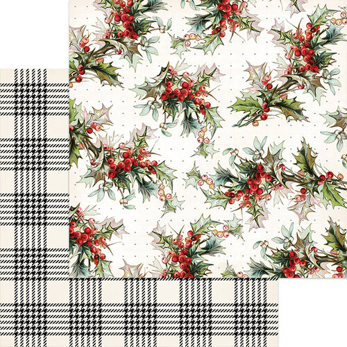 My Minds Eye - Christmas - Yuletide Collection - 12 x 12 Double Sided Paper - Berry