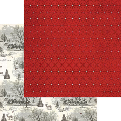 My Minds Eye - Christmas - Yuletide Collection - 12 x 12 Double Sided Paper - Snow with Glitter Accents
