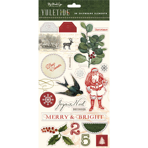 My Minds Eye - Christmas - Yuletide Collection - Chipboard Stickers with Glitter Accents