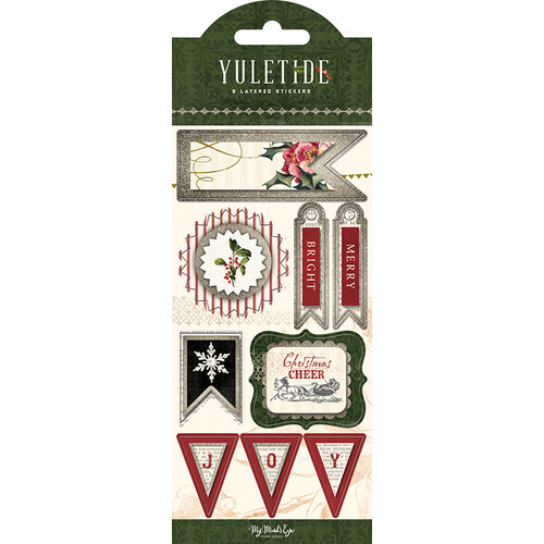 My Minds Eye - Christmas - Yuletide Collection - Layered Cardstock Stickers with Glitter Accents