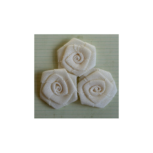 Maya Road - Vintage Linen Burlap Roses - Cream