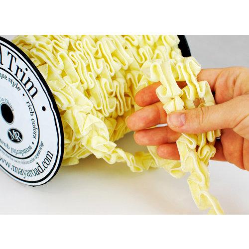 Maya Road - Trim Collection - Double Velvet Pleat Ribbon - Cream - 15 Yards