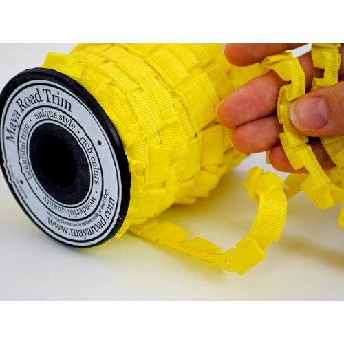 Maya Road - Trim Collection - Grosgrain Pleat Ribbon - Yellow - 20 Yards, CLEARANCE