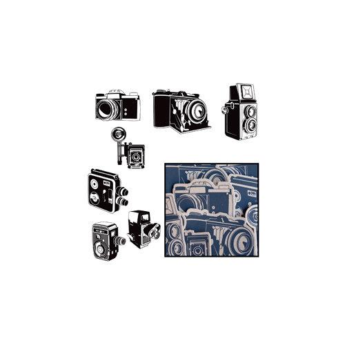 Maya Road - Kraft Die Cut Pieces - Say Cheese Cameras - Black