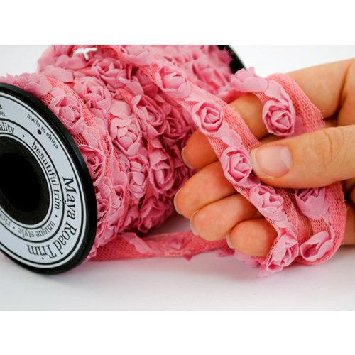 Maya Road - Trim Collection - Organza Roses Ribbon - Small - Pink - 15 Yards