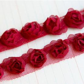 Maya Road - Trim Collection - Organza Roses Ribbon - Small - Red - 1 Yard