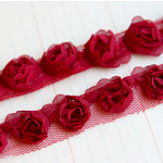 Maya Road - Trim Collection - Organza Roses Ribbon - Small - Red - 1 Yard
