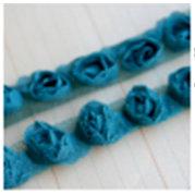 Maya Road - Trim Collection - Organza Roses Ribbon - Small - Turquoise - 1 Yard, BRAND NEW
