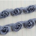 Maya Road - Trim Collection - Organza Roses Ribbon - Small - Grey - 1 Yard, BRAND NEW