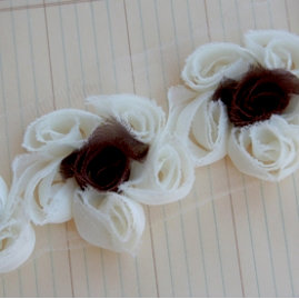 Maya Road - Trim Collection - Organza Flower Trim - Cream and Brown - 1 Yard, CLEARANCE