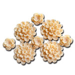 Maya Road - Resin Blossoms - Cream, CLEARANCE