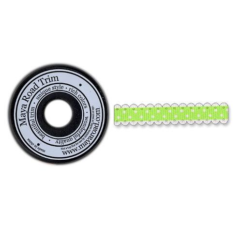 Maya Road - Trim Collection - Scallop Dot Ribbon Spool - Green - 25 Yards, CLEARANCE