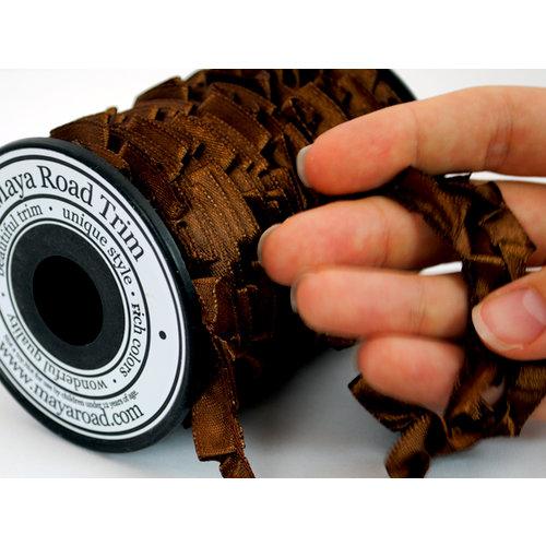 Maya Road - Trim Collection - Satin Pleat Ribbon - Brown - 25 Yards